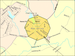 Census Bureau map of Sussex, New Jersey