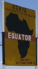 Left: A monument marking the Equator near the town of Pontianak, IndonesiaRight: Road sign marking the Equator near Nanyuki, Kenya