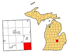 Location of Burns Township within Shiawassee County, Michigan