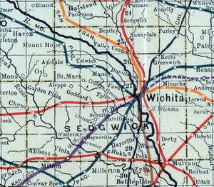 Stouffer's Railroad Map of Kansas 1915-1918 Sedgwick County