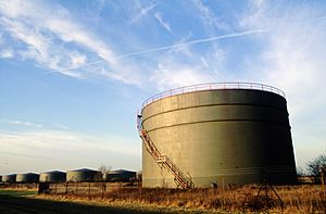 Disused storage tanks Canvey Island 1997