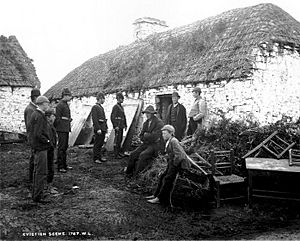 Family evicted by their landlord during the Irish Land War c1879