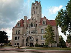 Hancock County Courthouse in downtown Greenfield.