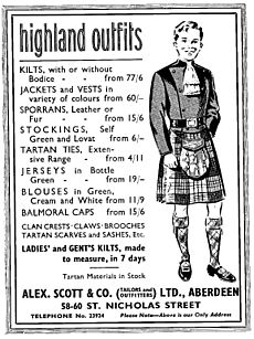 Highland outfits advertisement (1957)