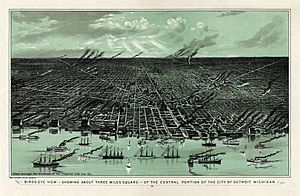 Bird's eye view of Detroit, Michigan, 1889 - . Calvert Lithographing Co.