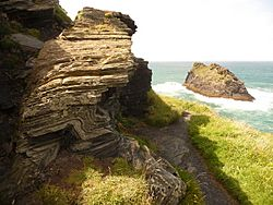 Boscastle, rock strata on Penally Point - geograph.org.uk - 1466300