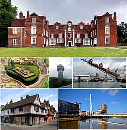 Top down: Christchurch Mansion, Willis Building, water tower, Ipswich Waterfront, Ipswich Town Centre, Sir Bobby Robson Bridge