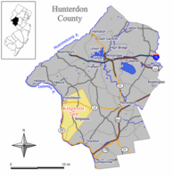 Map of Kingwood Township in Hunterdon County. Inset: Location of Hunterdon County highlighted in the State of New Jersey.