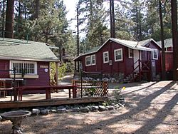 Downtown Wrightwood is dotted with many old resort cabins from the 1930s