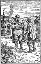 09 Malcolm receives Lady Hilda's appeal for help-Illust by Johan Schonberg for Lion of the North by G A Henty