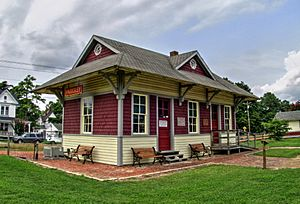 Depot at Eastern Shore Railway Museum, Parksley, VA, August 2014