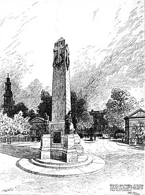 Drawing of London and North Western Railway War Memorial in The Builder