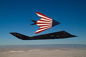 F-117 Nighthawks fly on one of their last missions