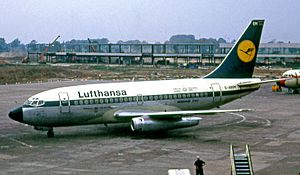Lufthansa Boeing 737-100 at Manchester Airport in 1972