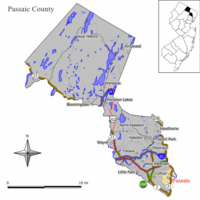 Map of Passaic in Passaic County. Inset: Location of Passaic County highlighted in the State of New Jersey.