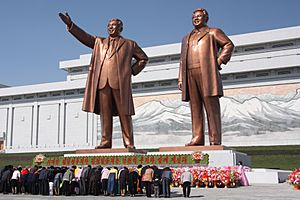 The statues of Kim Il Sung and Kim Jong Il on Mansu Hill in Pyongyang (april 2012)