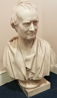 A marble bust of William Cunninghame of Lainshaw, d. 1847, aged 73