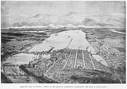 Bird's-eye view of Olympia, capitol of the State of Washigton, overlooking the head of Puget Sound, 1893 (WASTATE 2194)