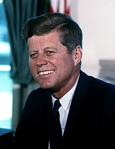 John F. Kennedy, White House color photo portrait