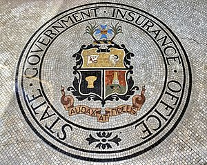 Mosaic of the State Government Insurance Office logo at Family Services Building, converted into Adina Apartment Hotel, Brisbane 01