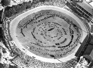 Queensland State Archives 5506 Aerial view of the grand parade of livestock at the Royal National Show Brisbane c 1958