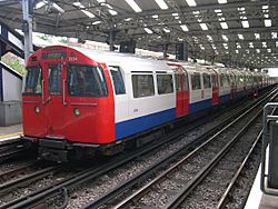 A Bakerloo Line train at Queen's Park heading towards Elephant & Castle