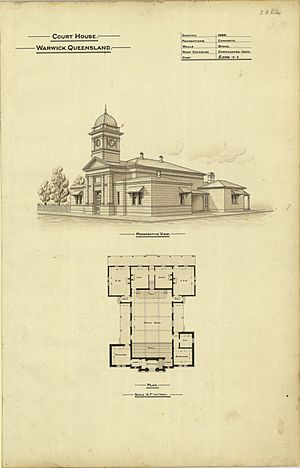 Architectural plans of Court House, Warwick, 1888
