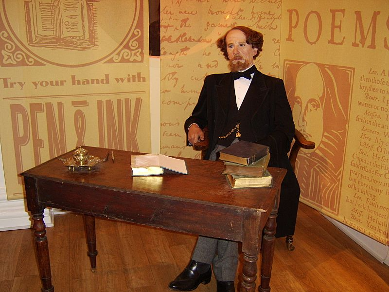 Charles Dickens at Madame Tussauds wax cabinet