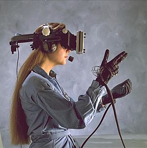 Head-mounted display and wired gloves, Ames Research Center