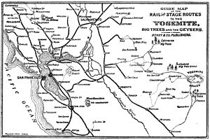 Map of Rail and Stage Routes to the Yosemite 1885