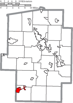 Location of Newcomerstown in Tuscarawas County