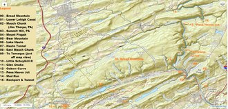 USGS relief-Broad Mountain and Terrains it dominates west of the Lehigh Gorge and north of Tamaqua, Nesquehoning and Jim Thorpe, PA
