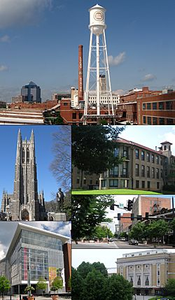 Clockwise from top: Durham skyline, North Carolina School of Science and Mathematics, Five Points, Carolina Theater, Durham Performing Arts Center, Duke Chapel