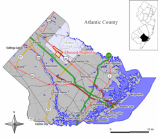 Map of Elwood CDP in Atlantic County. Inset: Location of Atlantic County in New Jersey.