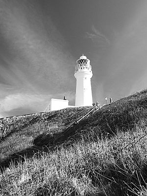 Flamborough lighthouse in black and white