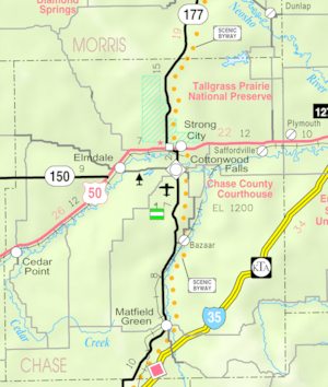 KDOT map of Chase County (legend)
