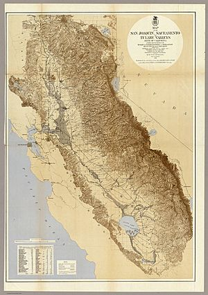 Map of the San Joaquin, Sacramento and Tulare Valleys 1873