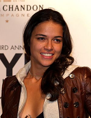 Michelle Rodriguez at the New York Fashion Week crop