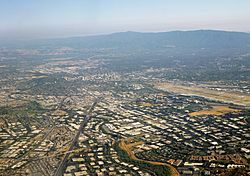 Silicon Valley, as seen from over north San Jose, facing southbound towards Downtown San Jose, in June 2014.