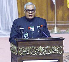 The Prime Minister Shri Atal Bihari Vajpayee delivering his speech at the 12th SAARC Summit in Islamabad, Pakistan on January 4, 2004 (1)