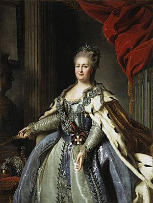Catherine II by F.Rokotov after Roslin (c.1770, Hermitage)
