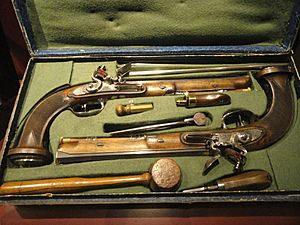 French cased duelling pistols, Nicolas Noel Boutet, single shot, percussion, rifled, .58 caliber, blued steel, Versailles, 1794-1797 - Royal Ontario Museum - DSC09477