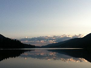 Moyie Lake at twilight in the summertime