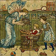 a tall female fairy in a draped gown passing a posey of flowers to a small child in a wicker push chair pushed by an older child wearing a green dress and a patterned pinafore against a nursery background with cupboards and toys