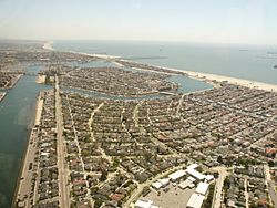 Naples Island is in the middle distance in this photo, with Belmont Park in the foreground, and The Peninsula and the neighboring city of Seal Beach beyond, looking southeast.