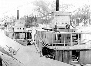 JD Farrell and North Star (sternwheelers) at Jennings Montana ca 1900