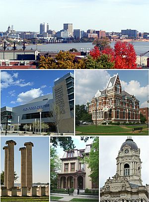 Top to bottom, left to right: Evansville riverfront, Ford Center, Willard Library, Four Freedoms Monument, Reitz Home, Old Vanderburgh County Courthouse