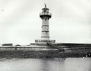 Historic view of Breakwater Lighthouse, Wollongong, NSW, Australia - cropped