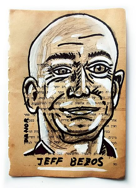 Jeff Bezos Portrait Painting Collage By Danor Shtruzman