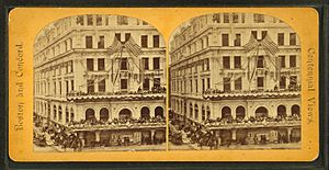Post office square, from Robert N. Dennis collection of stereoscopic views 2